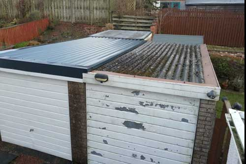 Garage on right fitted by another company with incorrect flashings